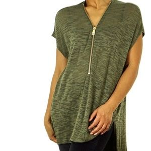 Express Heathered High Low Zipper V-Neck Top